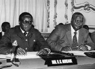 Nkomo(right) with mugabe